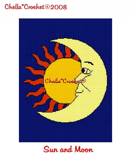 CHELLA*CROCHET Sun Moon Celestial Afghan Crochet Pattern Graph EMAILED .PDF