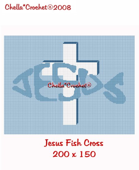 CHELLA*CROCHET Jesus Fish Cross Afghan Crochet Pattern Graph EMAILED .PDF