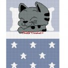 CHELLA*CROCHET Sleeping Kitty Cat Girl Boy Blue Stars Afghan Crochet Pattern Graph EMAILED .PDF