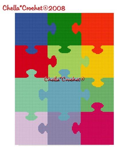 Chella*Crochet Jigsaw Puzzle Afghan Crochet Pattern Graph Scrap Yarn