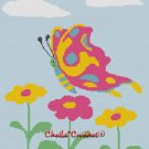 Chella*Crochet Colorful Butterfly Flowers Afghan Crochet Pattern Graph