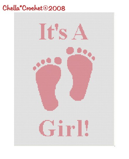 Chella*Crochet It's a Girl Footprint Baby Afghan Crochet Pattern Graph