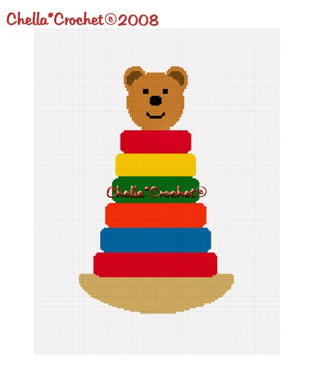 Chella*Crochet Stacking Rings Teddy Bear Afghan Crochet Pattern Graph