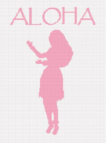 Chella*Crochet Hawaii Aloha Hula Girl Afghan Crochet Pattern Graph