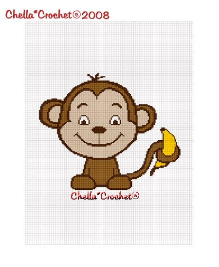 Chella*Crochet Baby Monkey with Banana Afghan Crochet Pattern Graph