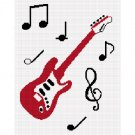 Chella*Crochet Chella*Crochet RED Guitar Musical Notes Music Afghan Crochet Pattern Graph