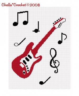 Chella*Crochet Chella*Crochet RED Guitar Musical Notes Music Afghan Crochet Pattern Graph