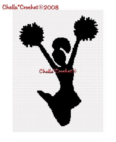 Chella*Crochet Cheerleader Silhouette Afghan Crochet Pattern Graph