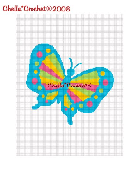 Chella*Crochet Rainbow Butterfly Colorful Afghan Crochet Pattern Graph