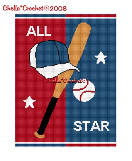 Chella*Crochet Baseball hat bat ALL STAR Afghan Crochet Pattern Graph