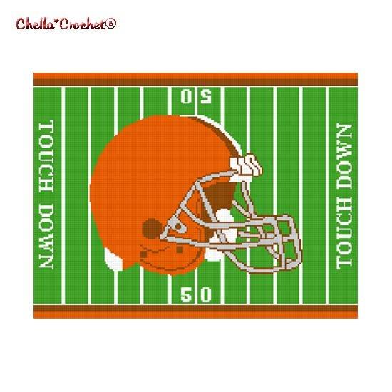 Chella*Crochet Football Helmet Field Brown Orange Afghan Crochet Pattern Graph