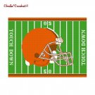Chella*Crochet Football Helmet Field Brown Orange Afghan Crochet Pattern Graph