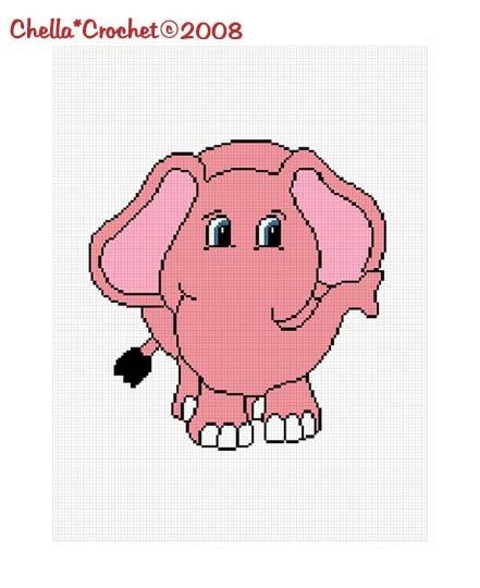 Chella*Crochet PInk Baby Elephant Afghan Crochet Pattern Graph