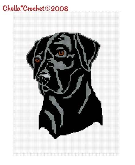 CHELLA*CROCHET Afghan Blanket Pattern Graph Black Labrador Lab Dog  .PDF