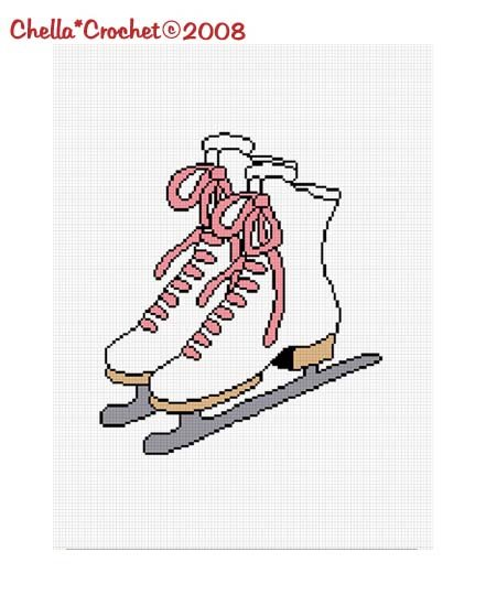 SALE see SHOP for details Ice Skates Skater Skating Afghan Crochet Pattern Graph