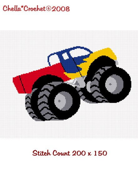 Sale See Shop for Details Chella Crochet Monster Truck Big Wheels Afghan Crochet Pattern Graph