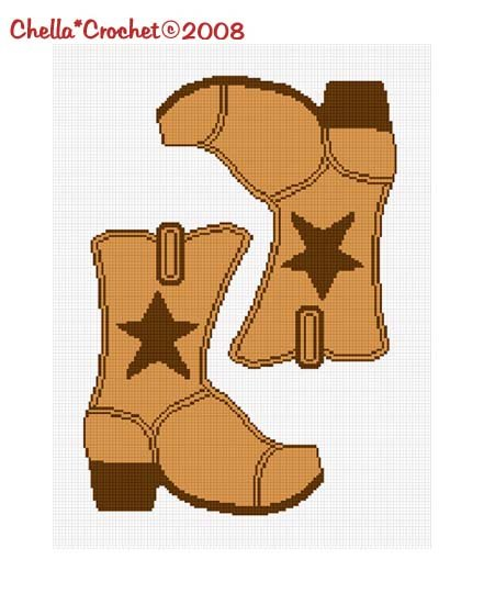 SALE SEE SHOP Cowboy Boots Star Brown Flip Flopped #2 Afghan Crochet Pattern Graph