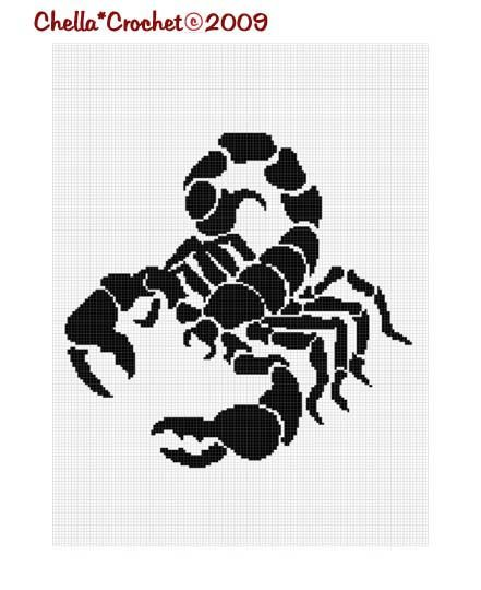 Sale See Shop for Details Scorpio Zodiac Sign Silhouette Afghan Crochet Pattern Graph Chart