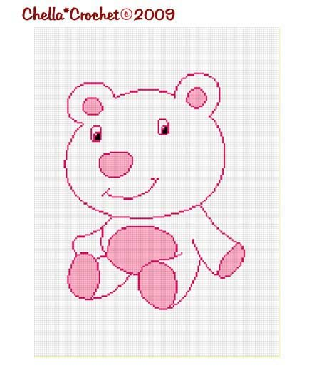 Sale See Shop for Details Baby Pink Polor Bear Afghan Crochet Pattern Graph Chart