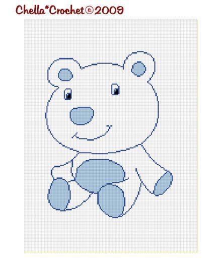 Sale See Shop for Details Baby Blue Polor Bear Afghan Crochet Pattern Graph Chart