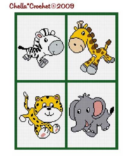 Sale See Details Baby Giraffe, Elephant, Cheetah, Zebra On Safari Crochet Afghan Pattern Graph