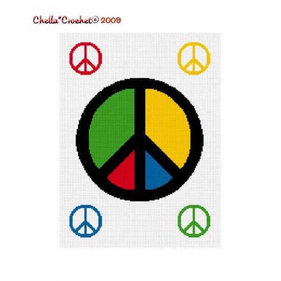 Chella Crochet Peace Love Sign w/ Mini Symbols Afghan Crochet Pattern Graph