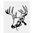 Deer Buck Stag Antlers Head Silhouette Afghan Crochet Pattern Graph Chart .PDF