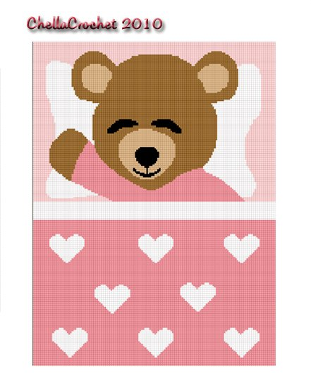 BUY 2 GET 1 FREE Chella Crochet Sleeping Teddy Bear Pink Hearts Girls Afghan Crochet Pattern Graph
