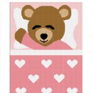 BUY 2 GET 1 FREE Chella Crochet Sleeping Teddy Bear Pink Hearts Girls Afghan Crochet Pattern Graph