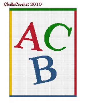 BUY 2 GET 1 FREE Chella Crochet ABC Alphabet Letters Afghan Crochet Pattern Graph