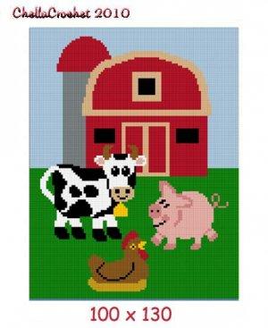 Sale See Details Farm Scene Animals Afghan Crochet Pattern Graph 100st