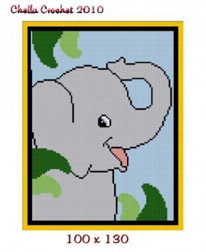 Chella Crochet SMALL Baby Elephant on Safari Jungle Afghan Pattern Graph Blanket Throw