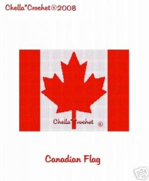 Canadian Canada Flag  Afghan Crochet Pattern Graph