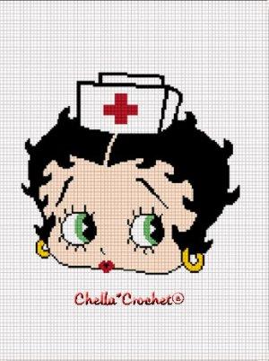 Nurse RN Betty Boop Afghan Crochet Pattern Graph