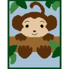 Baby Monkey  in Tree Afghan Crochet Pattern Graph 100st