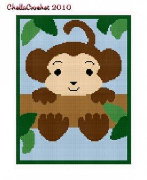 Baby Monkey  in Tree Afghan Crochet Pattern Graph 100st