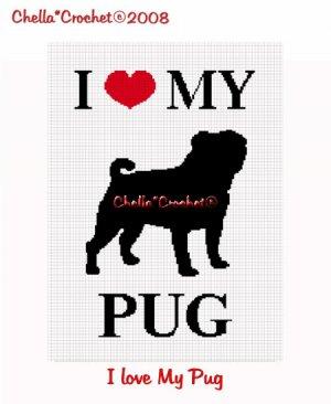 I Love My Pug Dog Afghan Crochet Pattern Graph