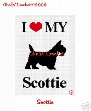 I love My Scottie Dog Afghan Crochet Pattern Graph