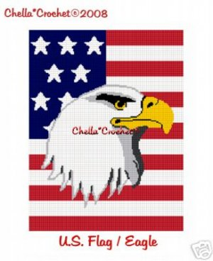 American Flag Bald Eagle Head Afghan Crochet Pattern Graph