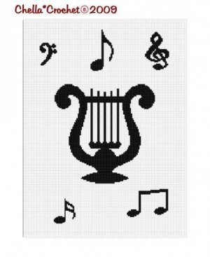 Musical Stand Music Notes Afghan Crochet Pattern Graph