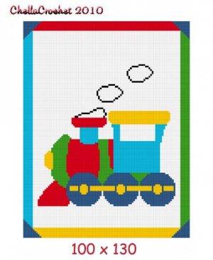 Baby Choo Train EASY Afghan Crochet Pattern Graph 100st
