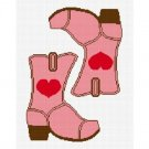 Cowgirl Boot Heart Pink #2 Afghan Crochet Pattern Graph