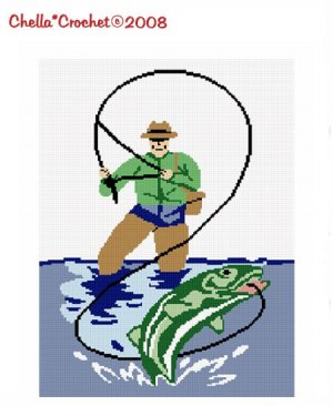 Fly Fishing Bass Trout  Afghan Crochet Pattern Graph
