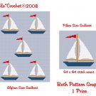 Sailboats Afghan and Pillow Crochet Pattern Graph