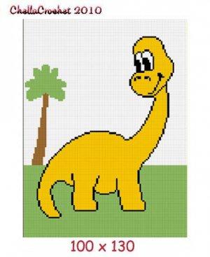 Dinosaur & Tree Afghan Crochet Pattern Graph Baby 100st