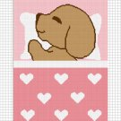Sleeping Puppy Dog Pink Afghan Crochet Pattern Graph