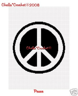 Peace Sign Afghan Crochet Pattern Graph