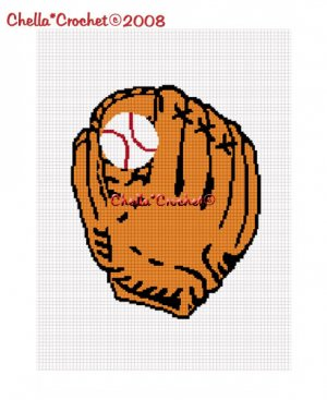 Baseball Glove and Ball Afghan Crochet Pattern Graph