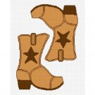 Cowboy Boot Star Brown #2 Afghan Crochet Pattern Graph