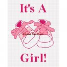 It's A Girl  Baby Shoes Afghan Crochet Pattern Graph